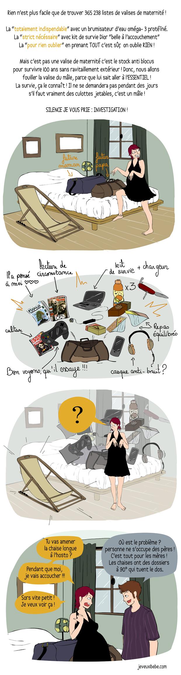 Accouchement : la valise de maternité... D'un mec !
