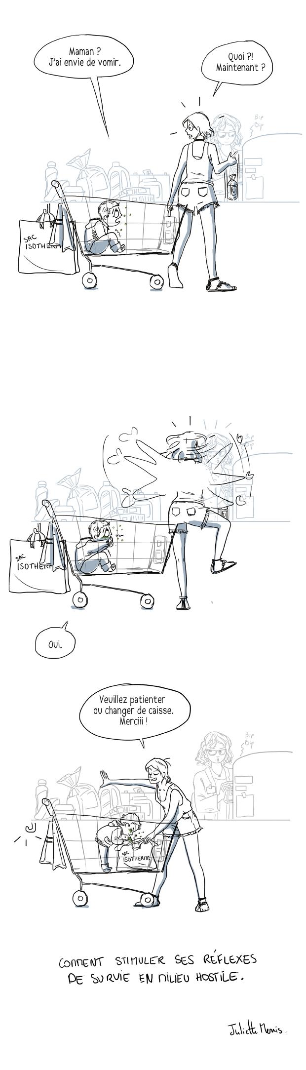 enfant malade au supermarché